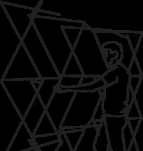 Strichzeichnung einer Person mit einem Scherengitter in den Händen