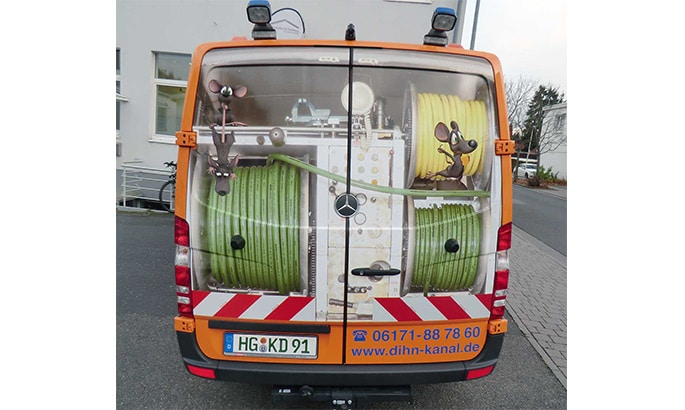 Fahrzeugbeschriftung, Werbung für ein Kanalreinigungsunternehmen
