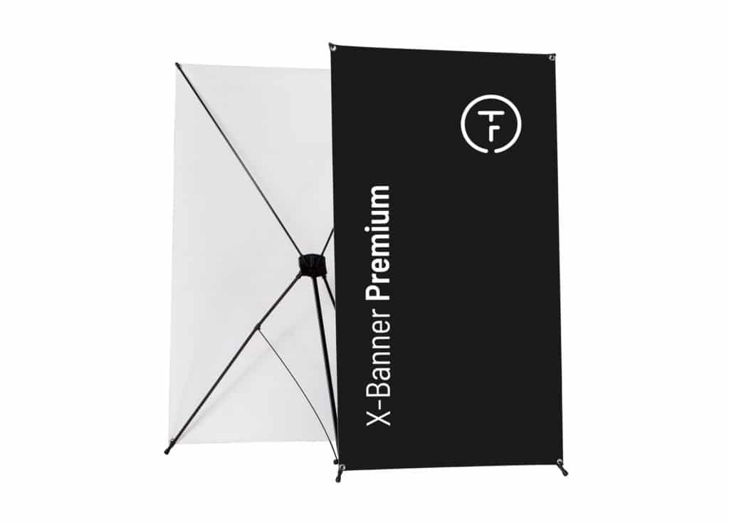 X-Banner Premium Gestell mit schwarzem Druck und TOF Logo