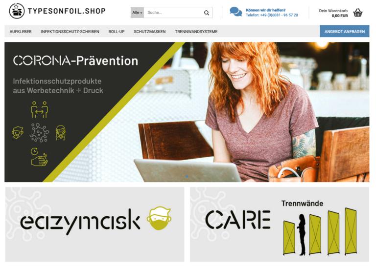 Bildmotiv des Online Shops der Firma TYPESONFOIL